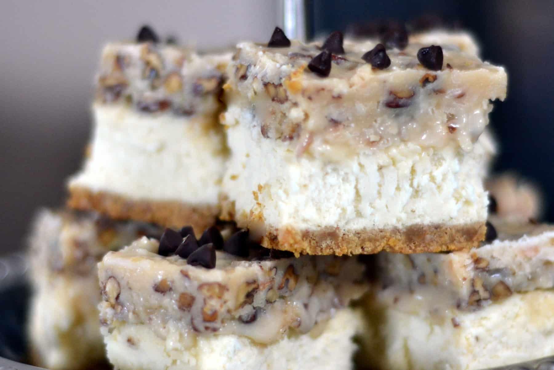 Caramel-Coconut-Pecan Cheesecake Bars - Chew Nibble NoshChew Nibble ...