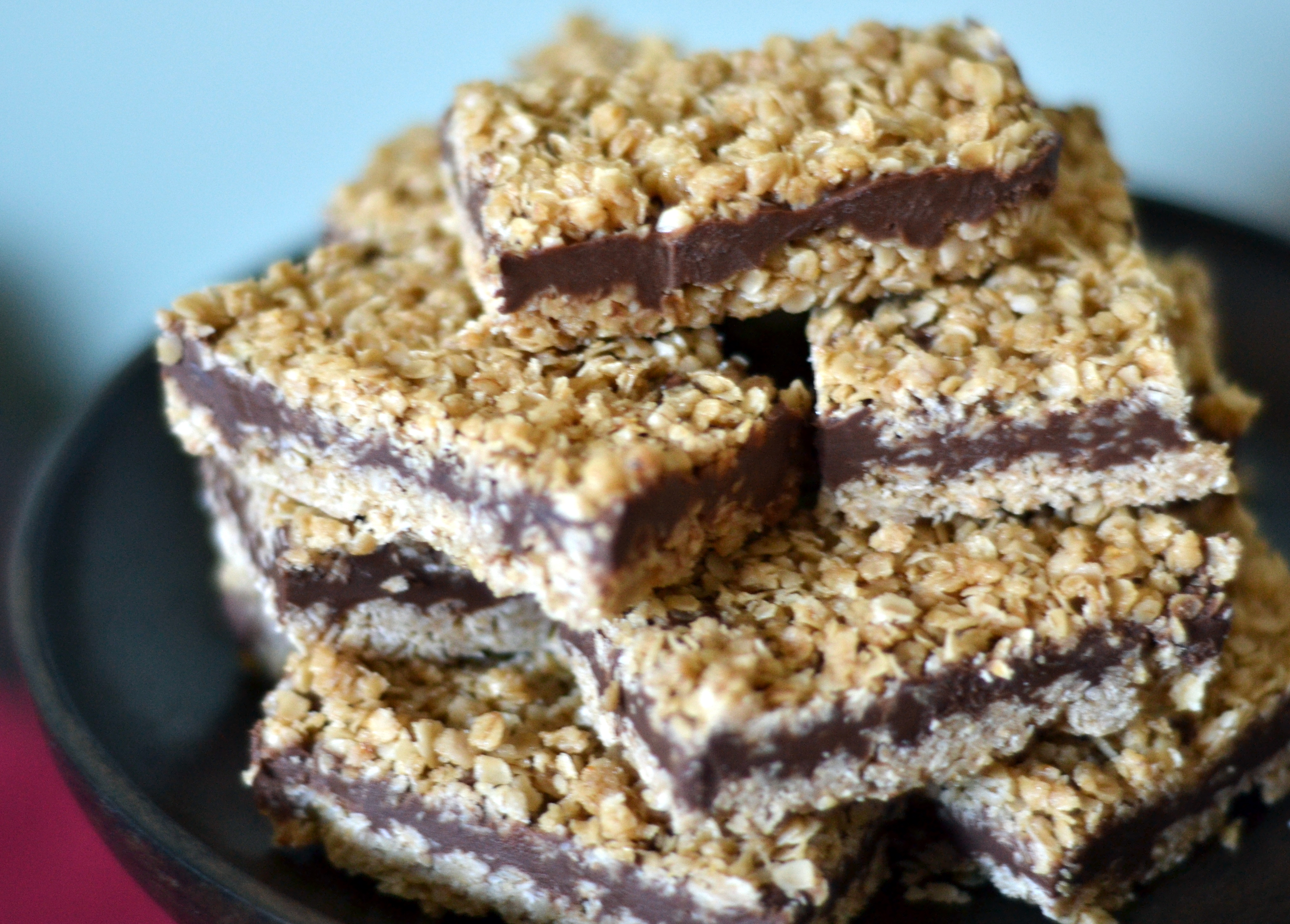 No-Bake Chocolate Peanut Butter Oatmeal Bars -Chew Nibble Nosh