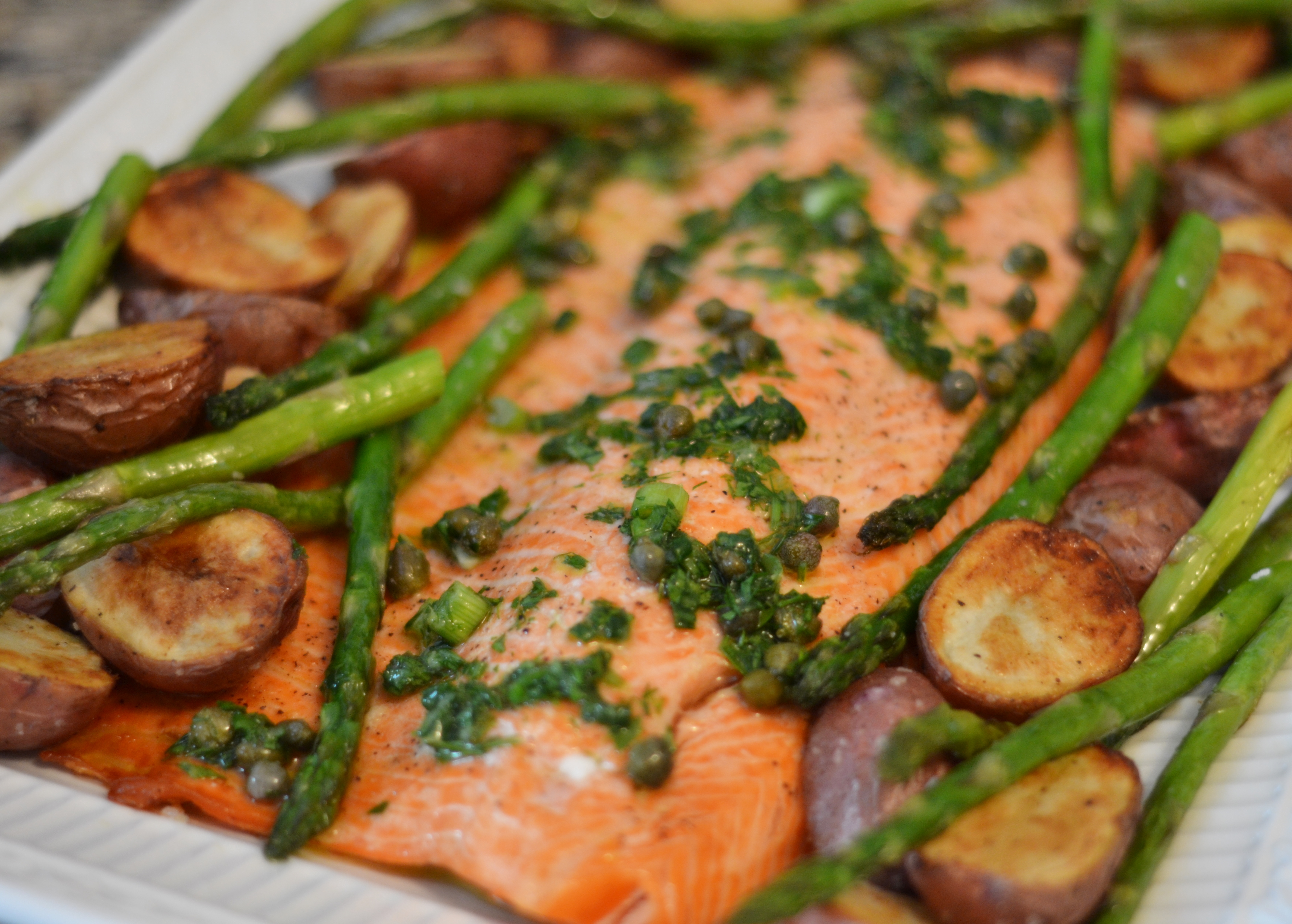 Roast Salmon with Potatoes, Asparagus, and Lemon-Dill-Caper Drizzle ...