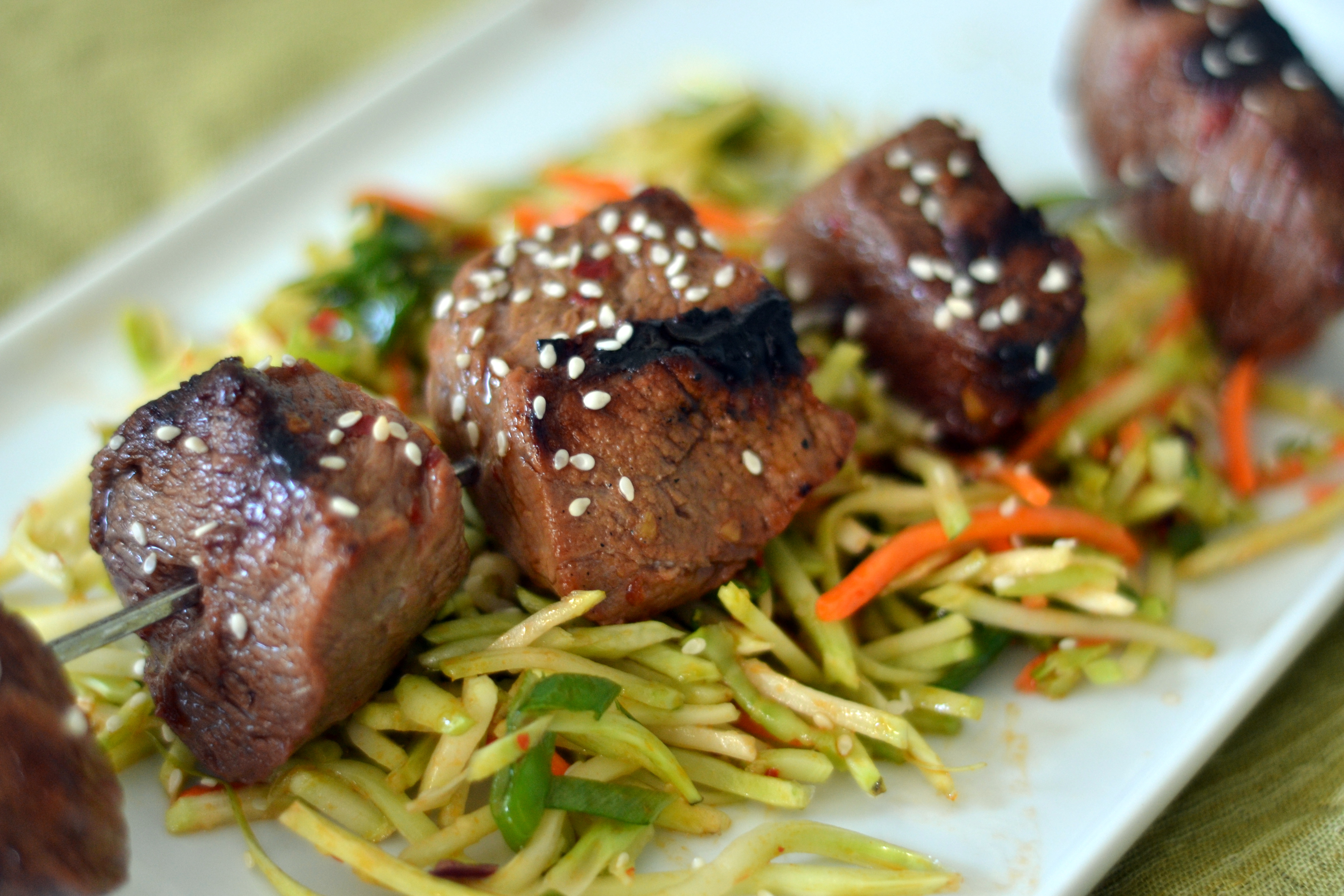 skewers with korean beef skewers asian beef skewers the next day cut ...