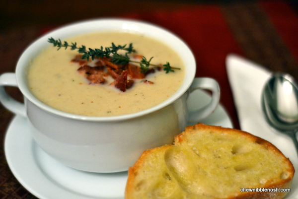 Roasted Cauliflower Soup with Aged Cheddar and Bacon - Chew Nibble ...