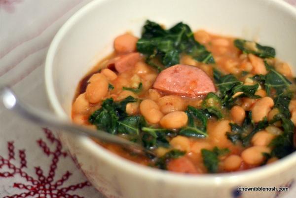 Slow Cooker White Bean & Kielbasa Stew - Chew Nibble NoshChew Nibble ...