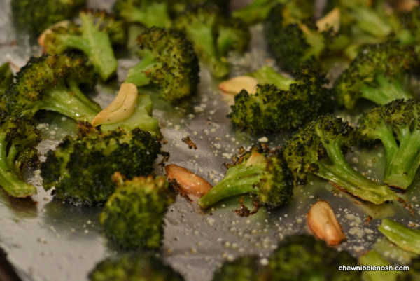 The broccoli and garlic had started to brown, and caramelize, around ...