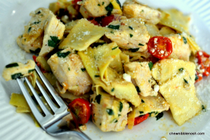 Skillet Chicken and Ravioli - Chew Nibble Nosh