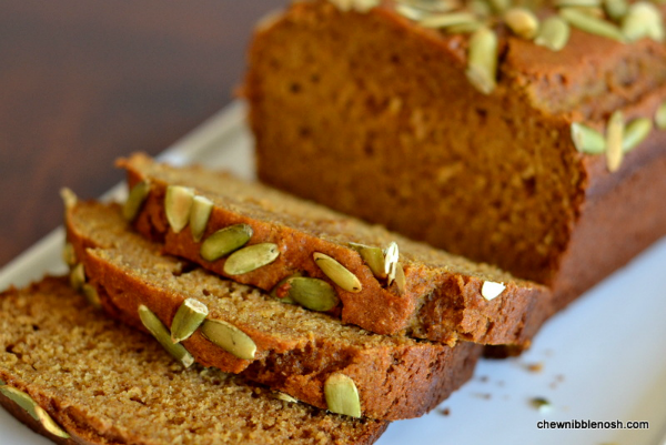 Olive Oil Pumpkin Bread - Chew Nibble NoshChew Nibble Nosh
