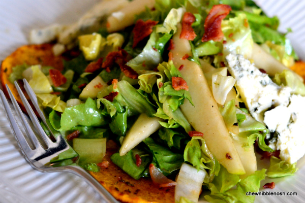 Roasted Butternut Squash Salad with Pears and Blue Cheese - Chew Nibble Nosh