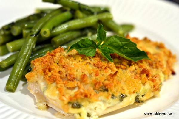 PINE NUT AND PARMESAN CRUSTED CHICKEN WITH GARLIC-BASIL GREEN BEANS