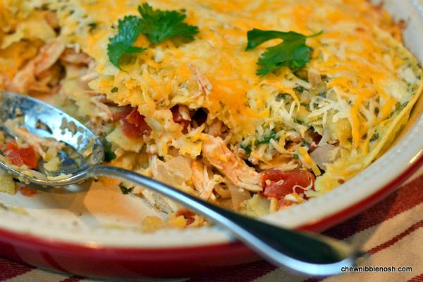 Stacked Chicken Enchiladas - Chew Nibble NoshChew Nibble Nosh