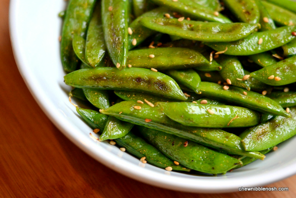 Sesame Roasted Sugar Snap Peas - Chew Nibble NoshChew Nibble Nosh