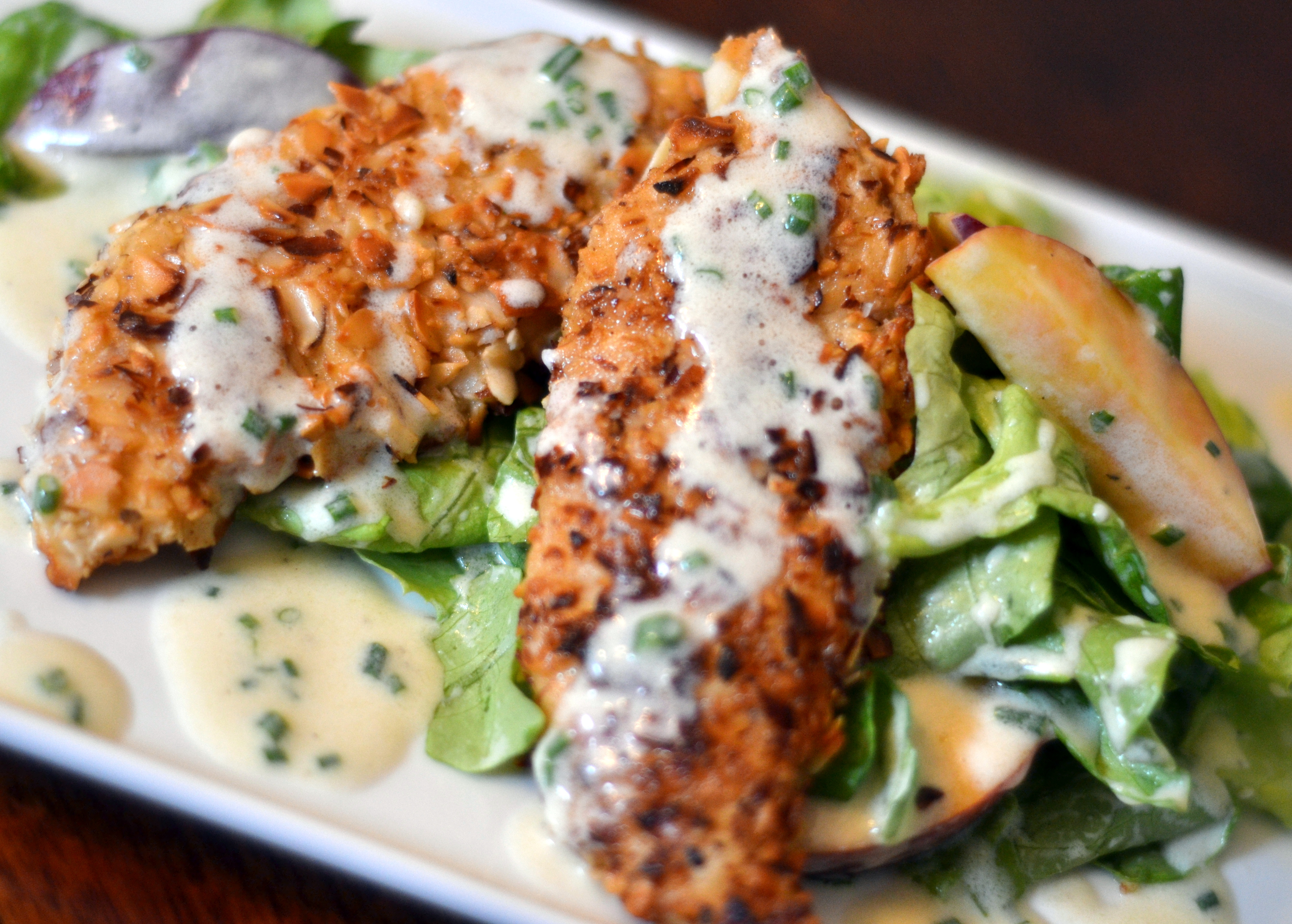 Almond Crusted Chicken and Peach Salad with Buttermilk-Balsamic Dressing