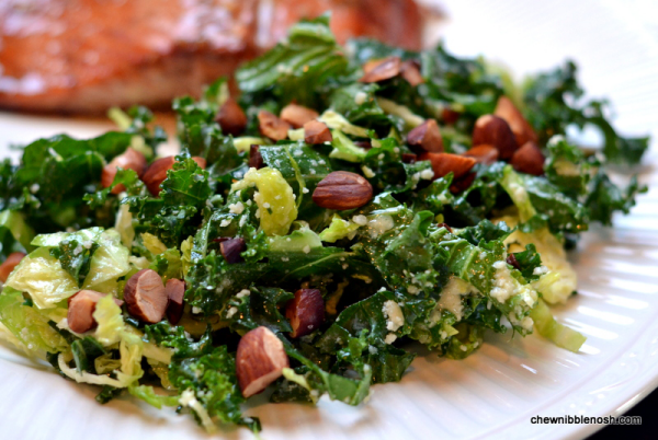 Kale and Brussels Sprouts Salad - Chew Nibble Nosh