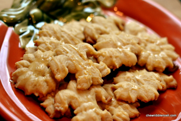 Spiced Brown Butter Spritz Cookies with Salted Caramel Glaze - Chew ...