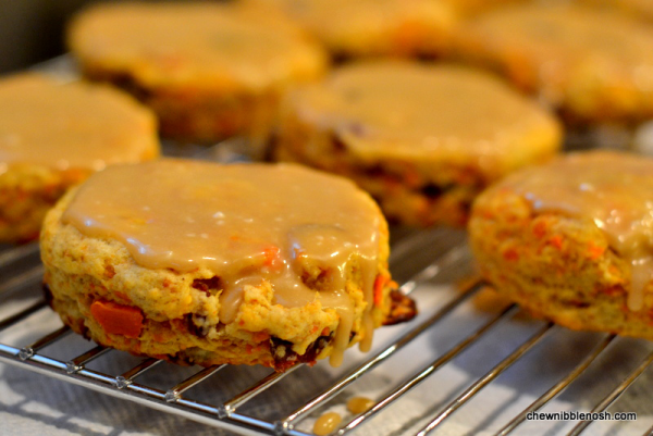 Sweet Potato and Cranberry Scones with Brown Sugar Icing - Chew Nibble Nosh