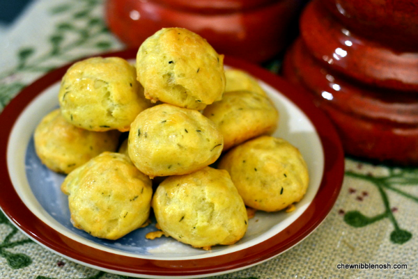 Thyme and Gruyère Gougères - Cooking with McCormickChew Nibble Nosh