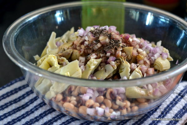Southern Style Pork Tenderloin with Black Eyed Pea & Artichoke Salad - Chew Nibble Nosh 3