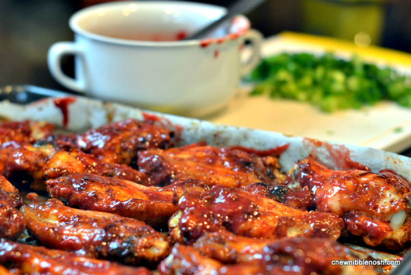 Sweet and Spicy Raspberry Chicken Wings - Chew Nibble Nosh 4