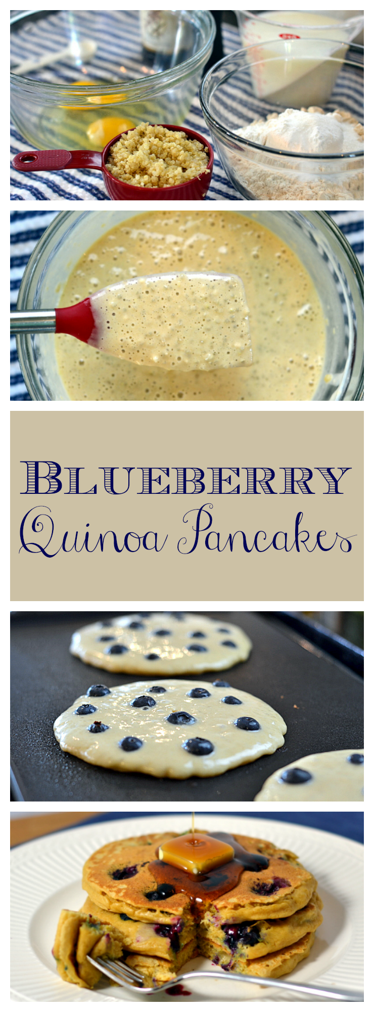 Bump up the protein in your breakfast with these kid-approved Blueberry Quinoa Pancakes. Recipe at Chew Nibble Nosh