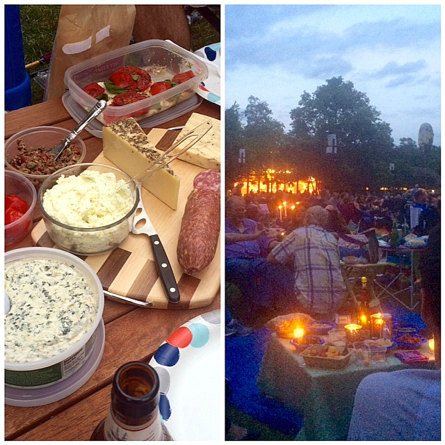 Our first course at Ravinia , and beautiful picnics as far as the eye could see.