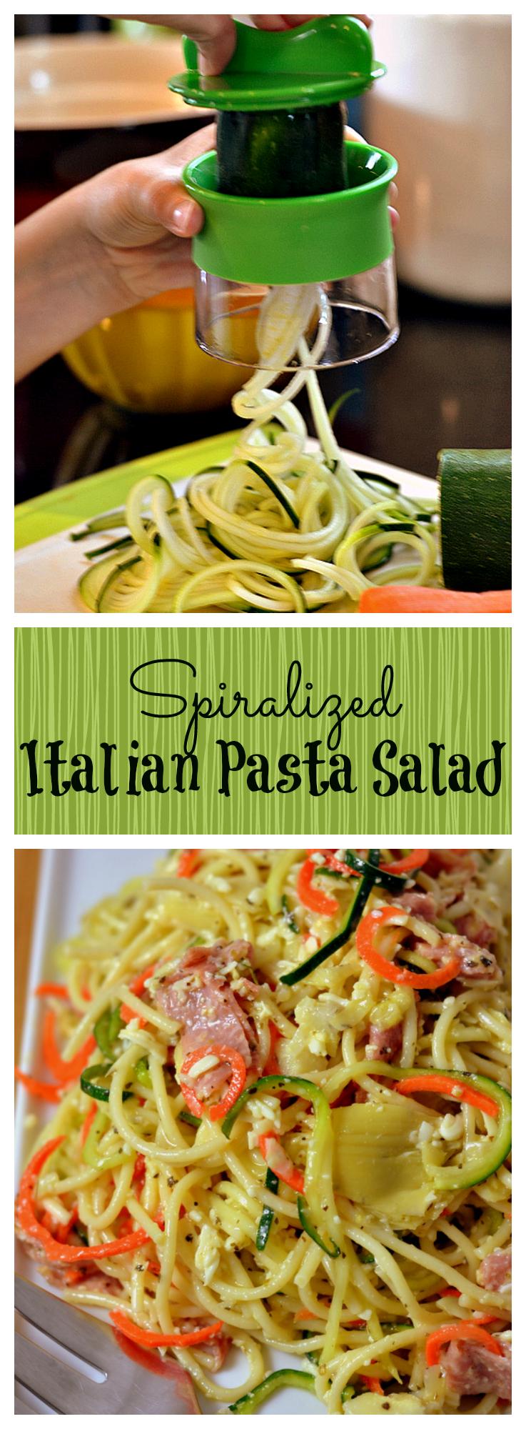 Spiralized Italian Pasta Salad - Chew Nibble Nosh..
