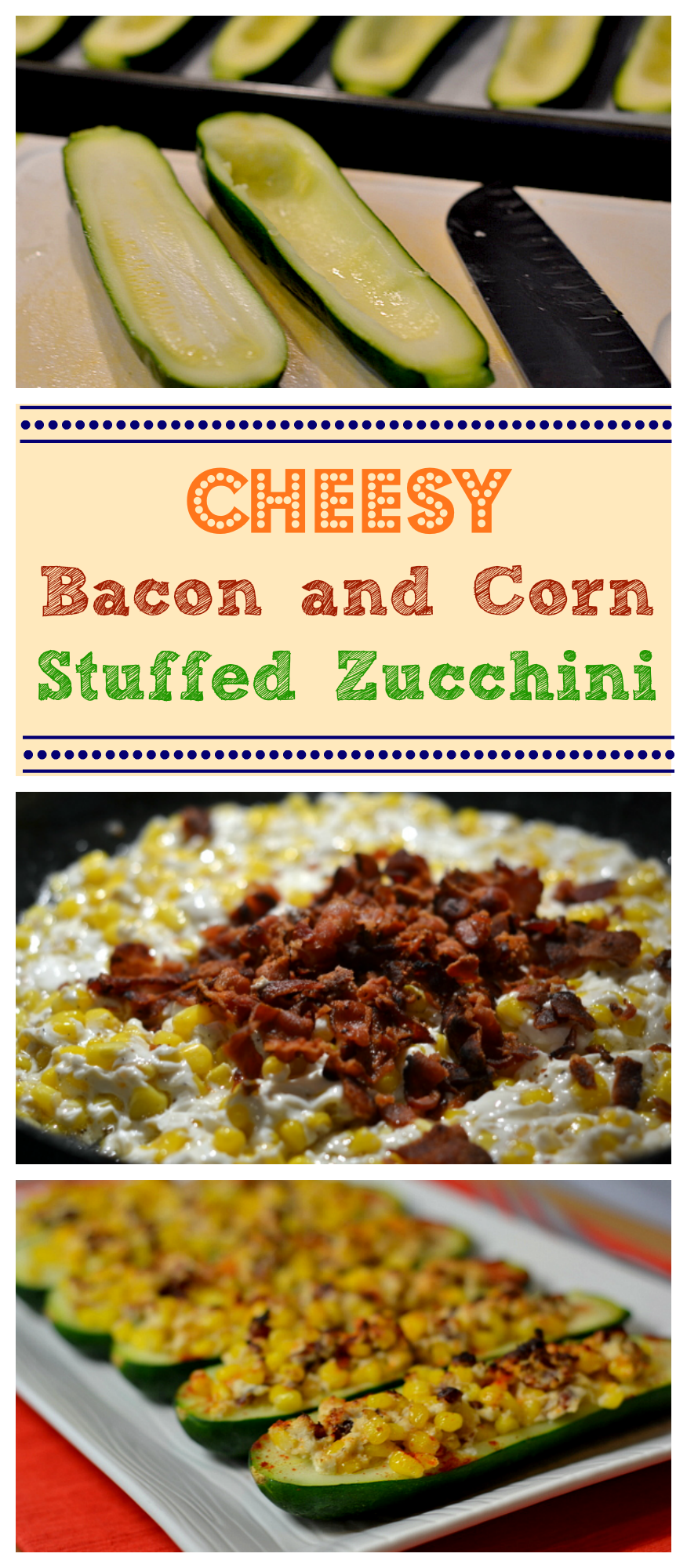 Cheesy Bacon and Corn Stuffed Zucchini - A simply delicious side dish. Find the recipe at Chew Nibble Nosh.