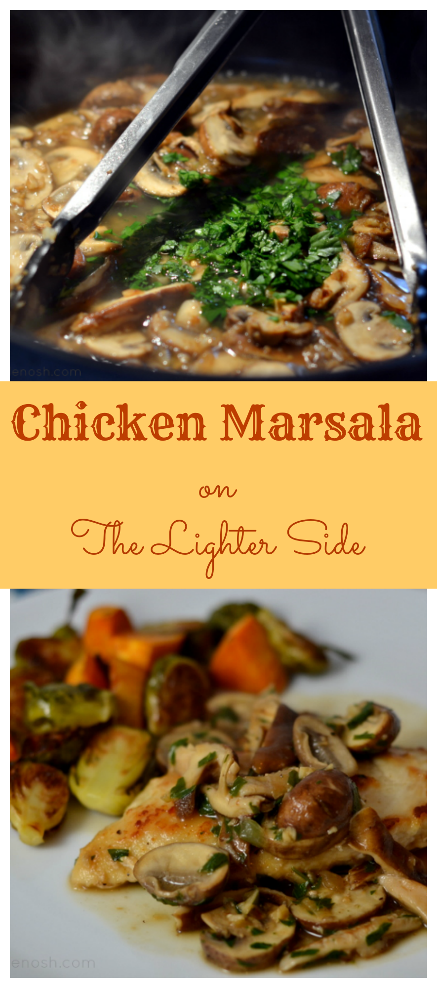 This lightened up version of Chicken Marsala greets you with all of the flavor, and just a sprinkling of the usual calories and fat! Chicken Marsala on the Lighter Side at Chew Nibble Nosh
