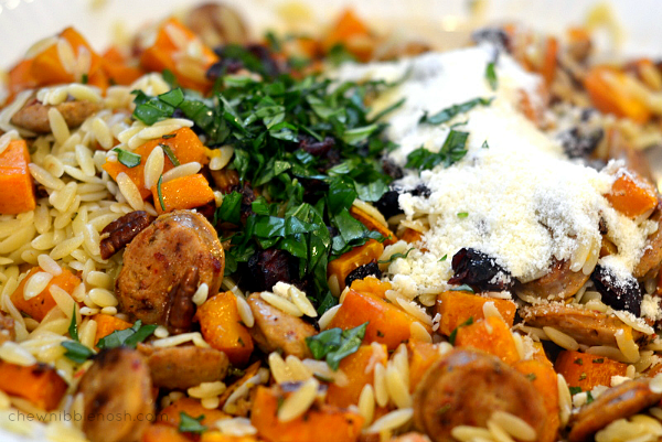 Chicken Sausage with Roasted Butternut Squash and Orzo - Chew Nibble Nosh 4