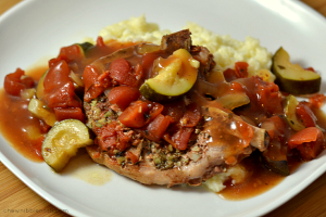 Slow Cooker Italian Pork Chops with Zucchini and Tomatoes - Chew Nibble Nosh