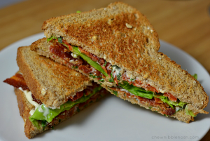 Slow Roasted Tomato BLTs with Basil Mayo -Chew Nibble Nosh