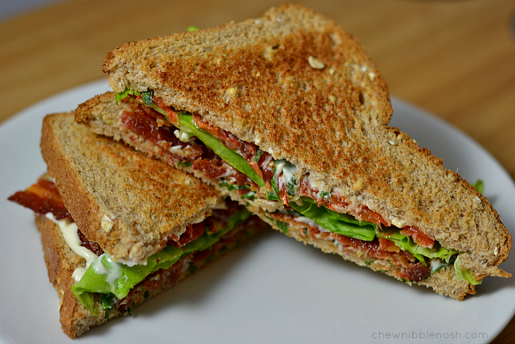 Slow Roasted Tomato BLTs with Basil Mayo - Chew Nibble Nosh