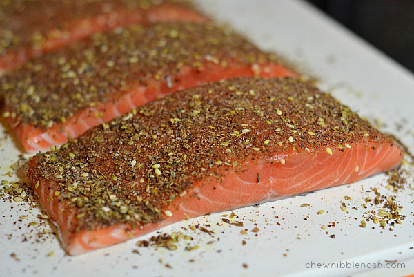 Za'atar Salmon with Vegetables and Couscous - Chew Nibble Nosh 3