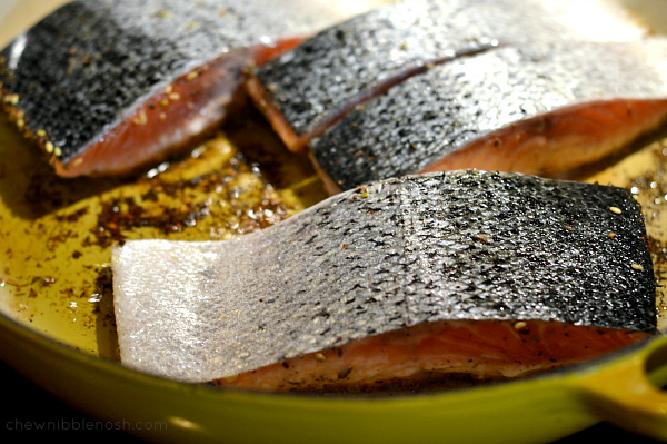 Za'atar Salmon with Vegetables and Couscous - Chew Nibble Nosh 4