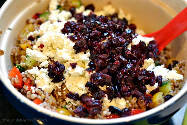 Greek Wheat Berry & Veggie Salad -Chew Nibble Nosh