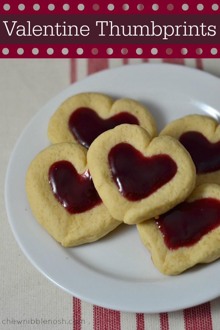 Valentine Heart Thumbprint Cookies - Chew Nibble Nosh