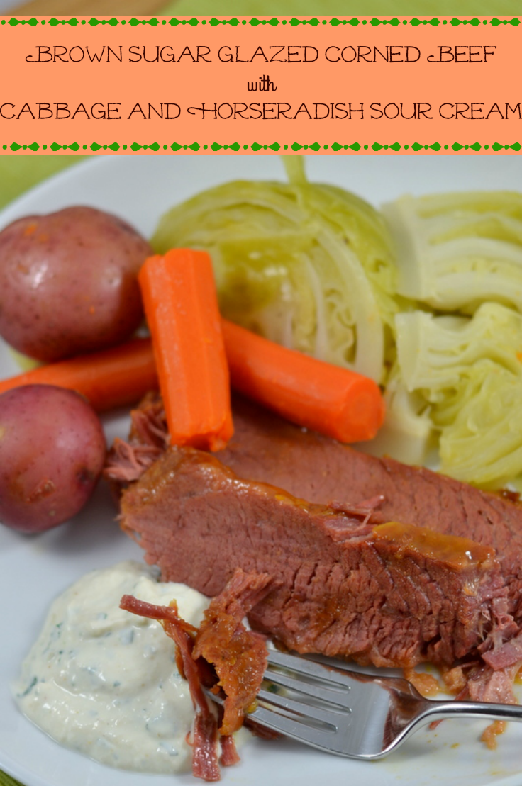 Brown Sugar Glazed Corned Beef with Cabbage and Horseradish Sour Cream - Chew Nibble Nosh