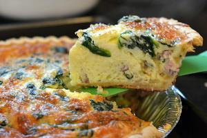 Lightened Up Ham & Spinach Quiche -  Chew Nibble Nosh