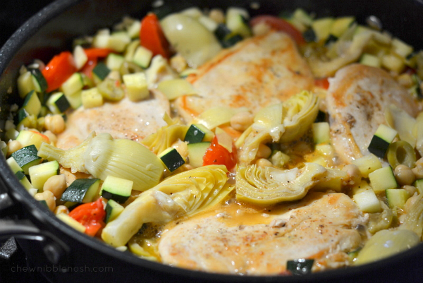 Mediterranean Chicken Skillet with Zuccini, Chickpeas, Olives and Tomatoes - Chew Nibble Nosh 6