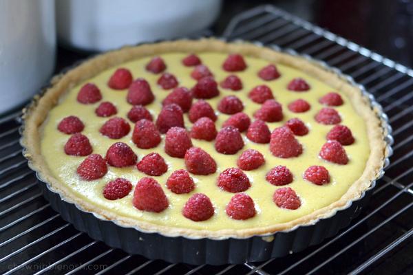 Simple Raspberry Cream Tart - Chew Nibble Nosh 4