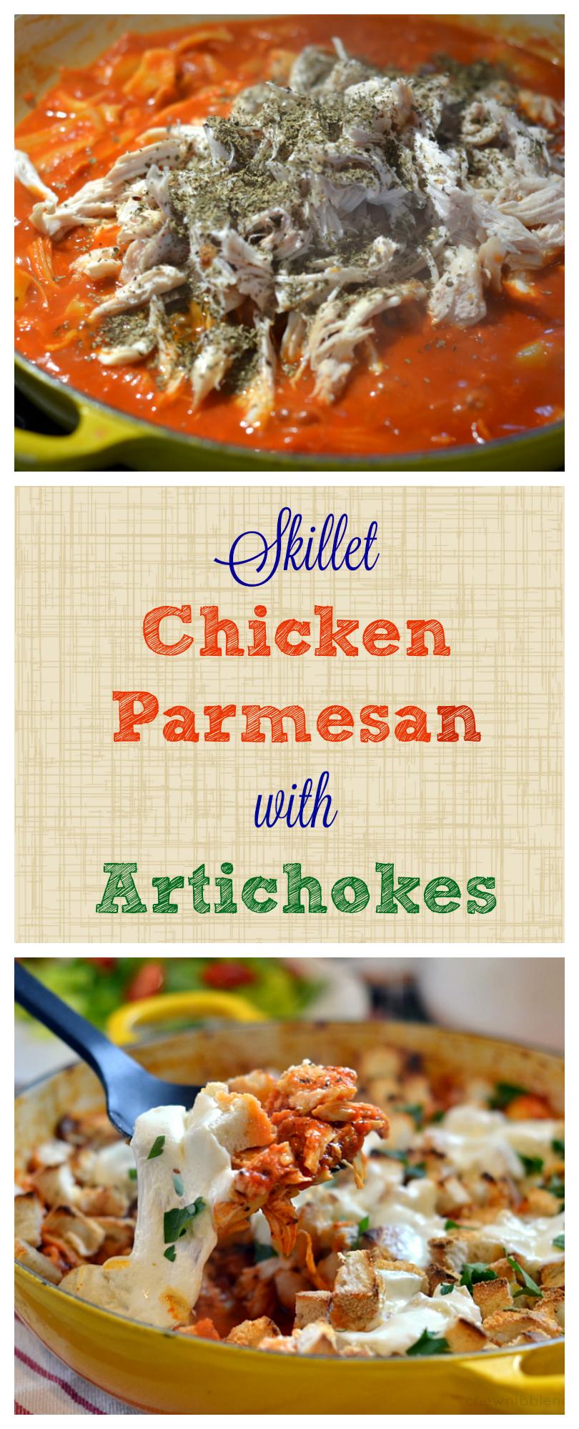 Skillet Chicken Parmesan with Artichokes -Chew Nibble Nosh