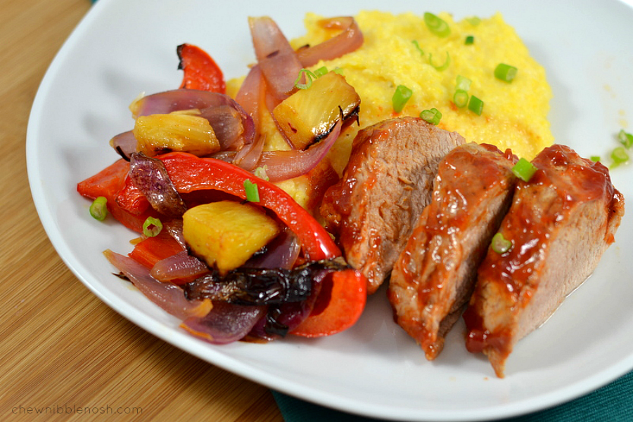 Sweet and Smoky Pork Tenderloin with Pineapple and Peppers - Chew Nibble Nosh