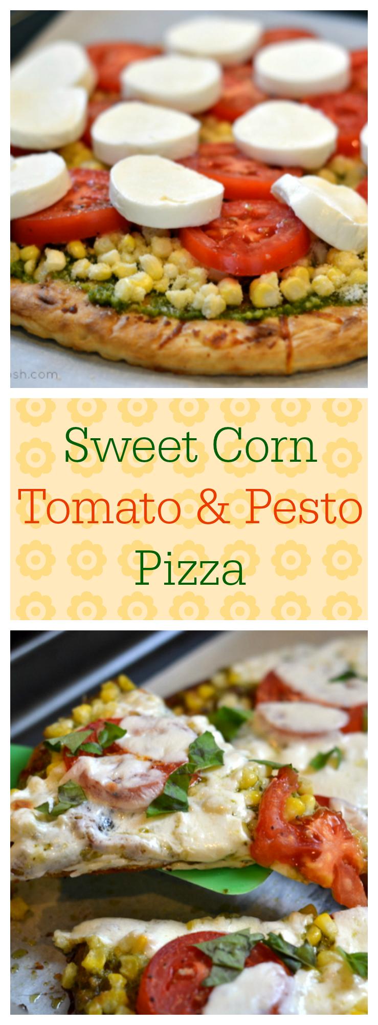 Sweet Corn, Tomato and Pesto Pizza - Chew Nibble Nosh