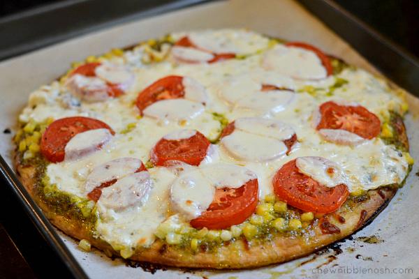Sweet Corn, Tomato and Pesto Pizza - Chew Nibble Nosh 5