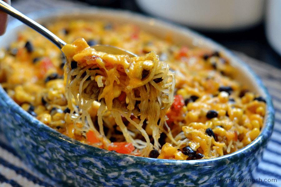 Cheesy Southwestern Spaghetti Squash Bake - Chew Nibble Nosh