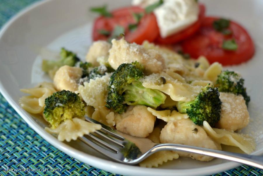 Garlic Lemon Chicken Pasta with Broccoli - Chew Nibble Nosh