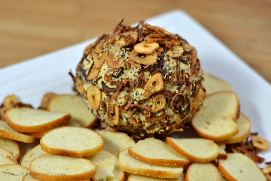 Everything Spice Coated Cheddar Cheese Ball
