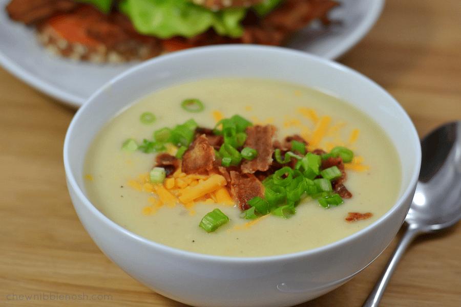 Instant Pot Loaded Potato-Cauliflower Soup
